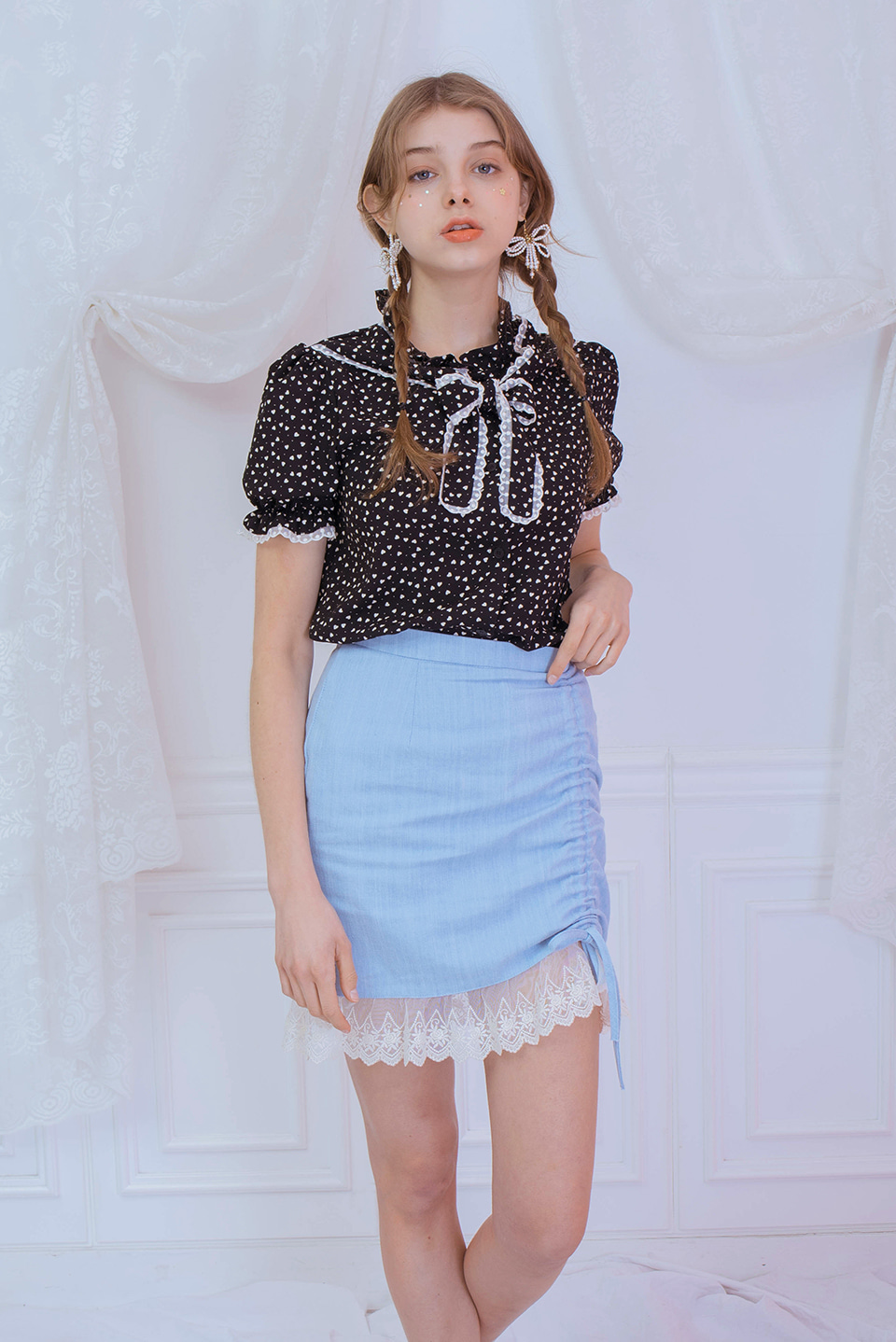 lace detail skirt (blue)