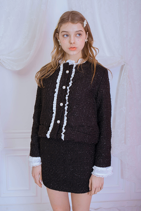 tweed pearl jacket & tweed pearl skirt