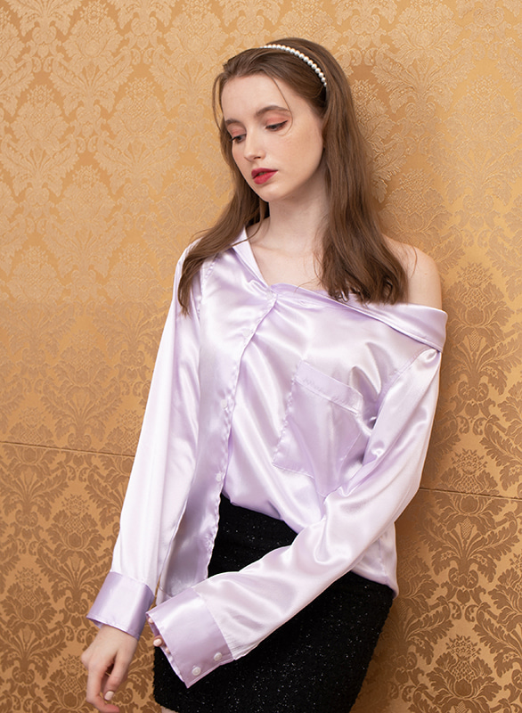 offshoulder silky blouse (purple)